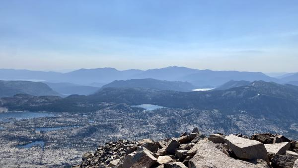 A view of Tahoe and Echo Lakes from the summit of Pyramid Peak