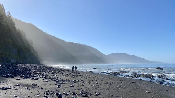 Members of our group hiking on the coast in the morning