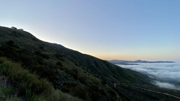 The sunrise view looking Eastward