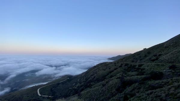 The sunrise view looking Westward