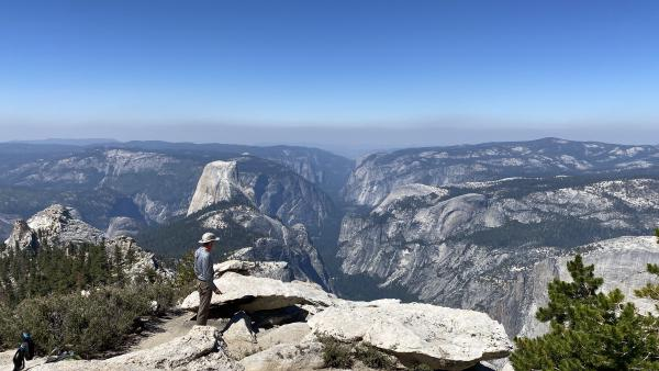 Chris looks out to Yosemite Valley from Cloud's Rest
