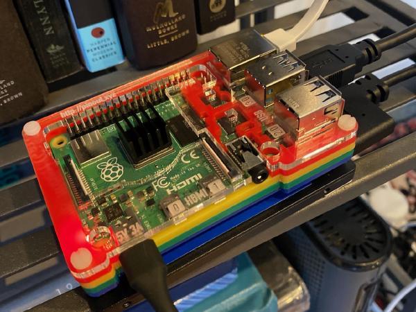 A Raspberry Pi 4 in a colorful case