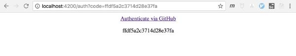 web page with authentication link, and a text line with code param value