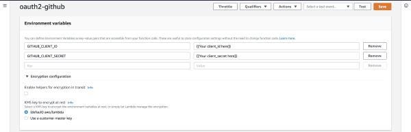 Screenshot of AWS Console Lambda Environment Variables